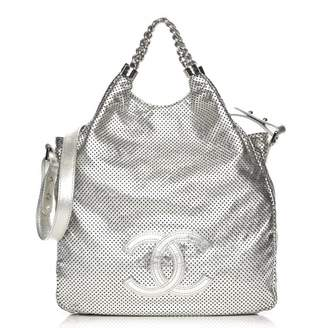 Chanel Rodeo Drive Tote Perforated Metallic Large Silver