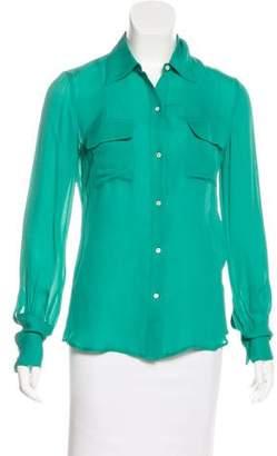 Nili Lotan Silk Button-Up Top