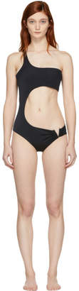 Versace Underwear Black V Single-Shoulder Swimsuit