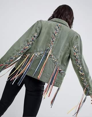Blank NYC festival Ribbon Detail Trucker Jacket