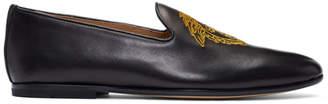 Versace Black Embroidered Medusa Loafers