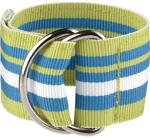 Crate & Barrel Chatham Green Stripe Napkin Ring