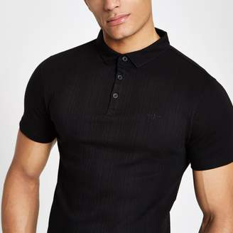 River Island Mens Black ribbed muscle fit polo shirt