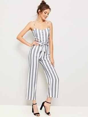 Shein Vertical-striped Belted Zipper Back Cami Jumpsuit