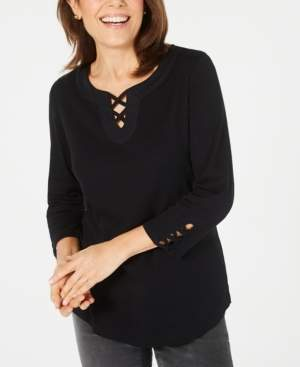 Karen Scott Petite Cotton Lace-Up Top, Created for Macy's