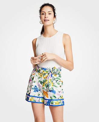 Ann Taylor Petite Vintage Floral Pleated Tie Waist Shorts