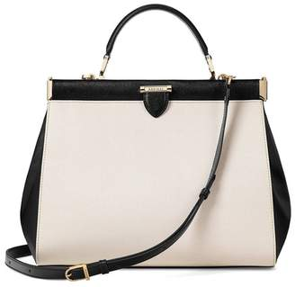 Aspinal of London Large Florence Frame Bag In Monochrome Saffiano