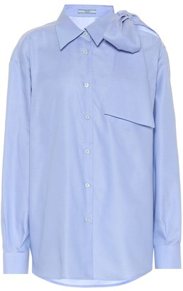Prada Cold-shoulder cotton poplin shirt