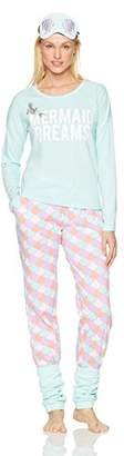Disney Women's Ariel Long Sleeve Pajama 2 Piece Set with Eye Mask