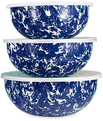 Golden Rabbit Asst. of 3 Swirl Mixing Bowls - Cobalt/White