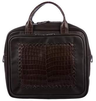 Bottega Veneta Nappa Crocodile Handle Bag