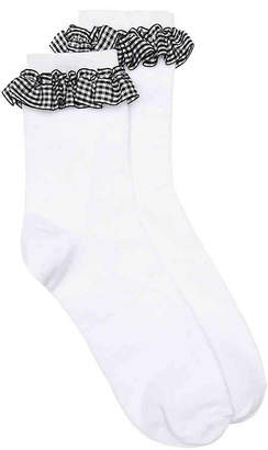 Mix No. 6 Gingham Ruffle Crew Socks - Women's