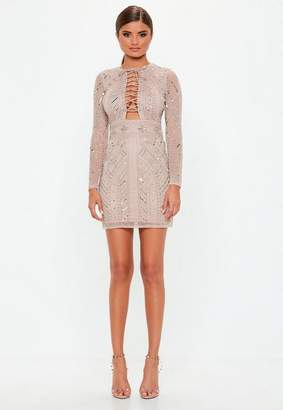 Missguided Premium Nude Lace Up Detail Mini Dress