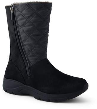 Lands' End - Black Quilted Side-Zip Winter Boots