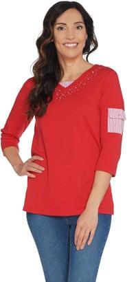 Factory Quacker 3/4-Sleeve Knit T-Shirt with Seersucker Trim Detail