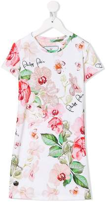 Philipp Plein Junior floral short-sleeve dress
