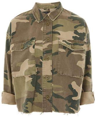Topshop TALL Camouflage Raw Hem Jacket