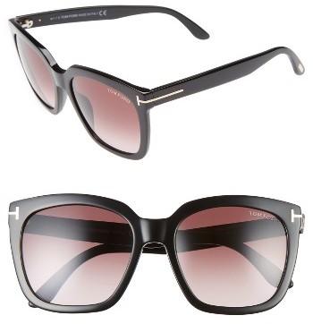 Women's Tom Ford Amarra 55Mm Gradient Lens Square Sunglasses - Black/ Gradient Burgundy
