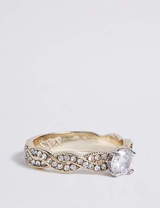 Marks and Spencer Gold Plated Pave Twist Floral Diamanté Ring