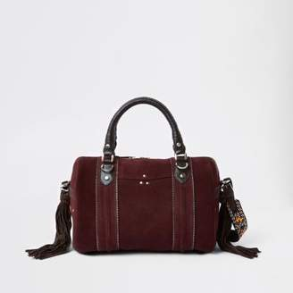 River Island Dark red leather cross body duffle bag