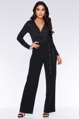 ff5fc311ce40 Quiz Black Glitter Geometric Print Jumpsuit