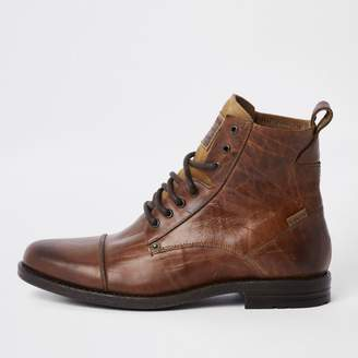 River Island Mens Levi's brown leather lace-up boots