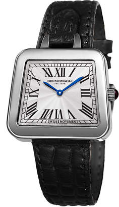 Bruno Magli 34mm Emma Trapezoid Watch w/ Black Strap