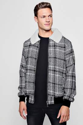 Blend of America Wool Faux Fur Collar Check Bomber
