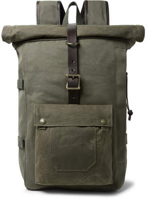 Filson Roll-Top Tin Cloth and Leather-Trimmed Twill Backpack - Men - Army green