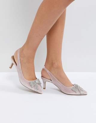 Asos DESIGN SUSANNA Embellished Slingback Kitten Heels