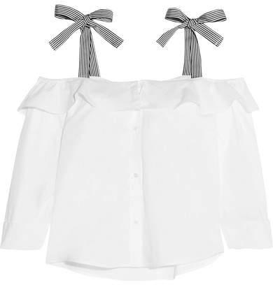 J.Crew - Hoot Cold-shoulder Ruffled Cotton-poplin Top - White