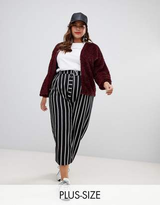 9482bab9f7e44 at ASOS New Look Plus Curve stripe crop pants in black pattern