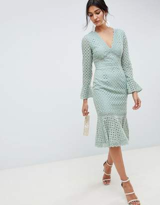 Asos DESIGN broderie lace v neck fluted sleeve midi dress