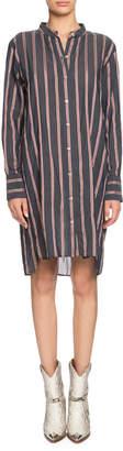 Etoile Isabel Marant Yucca Striped Band-Collar Long-Sleeve Shirt Dress