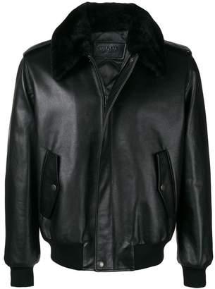 Prada fur collar leather jacket