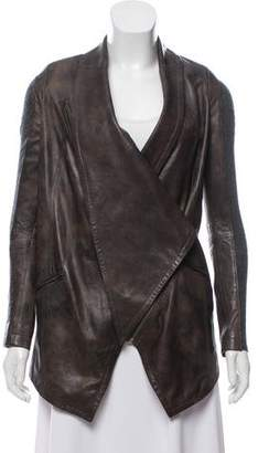 Yigal Azrouel Wool-Paneled Leather Jacket