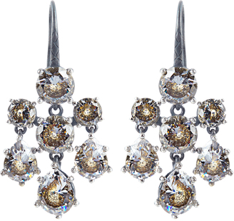 Cubic-zirconia and silver chandelier earrings