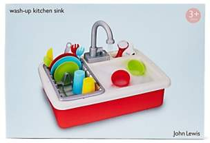 John Lewis & Partners Wash Up Kitchen Sink Playset, Red
