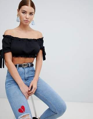 PrettyLittleThing Bardot Bow Sleeve Crop Top