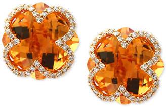 Effy Citrine (7-1/10 ct. t.w.) & Diamond (1/5 ct. t.w.) Clover Earrings in 14k Gold
