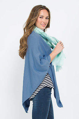NEW Threadz Womens Ponchos Angled Star Poncho Blue