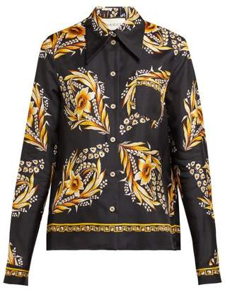 Gucci Floral Print Silk Twill Shirt - Womens - Black Gold