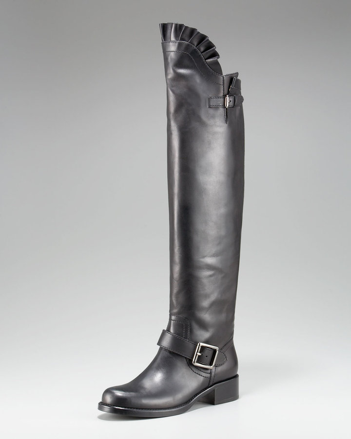 Valentino Ruffle-Top Tall Motorcycle Boot