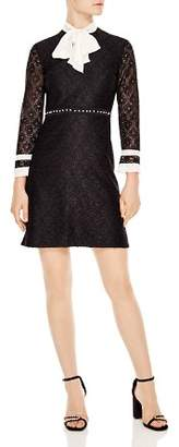 Sandro Horse Tie-Neck Lace Dress