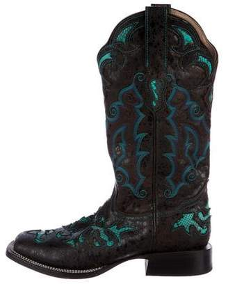 Stetson Snakeskin-Trimmed Mid-Calf Boots