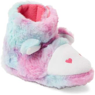 Nicole Miller New York (Toddler Girls) Rainbow Cow Faux Fur Slipper Boots