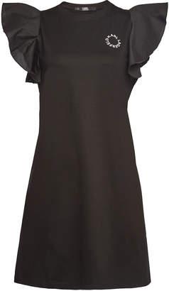 Karl Lagerfeld Paris Stretch Cotton Ruffle Sleeve T-Shirt Dress