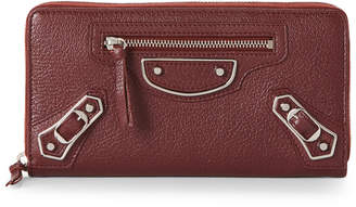 Balenciaga Burgundy Metallic Edge Leather Zip Wallet