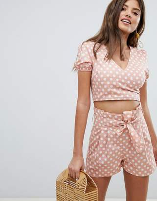Missguided Polka Dot Wrap Front Top