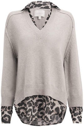 Brochu Walker Leopard Layered V-Neck Sweater